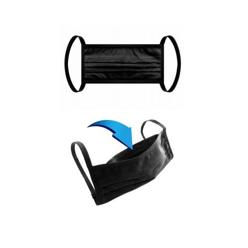 Baumwollmaske 2-lagig mit Filtertasche schwarz - Bild 1
