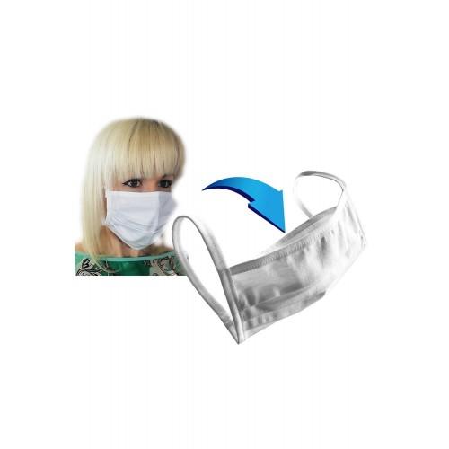 Baumwollmaske 2-lagig mit Filtertasche weiß - Bild 1