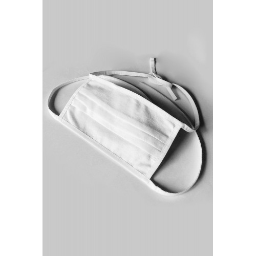 Baumwollmaske 2-lagig zum binden und mit Filtertasche weiß - Bild 1