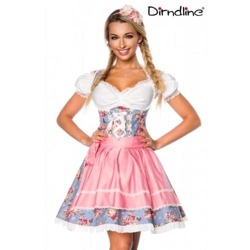 Premium Dirndl inklusive Bluse blau/rosa/weiß - AT70001 - Bild 1