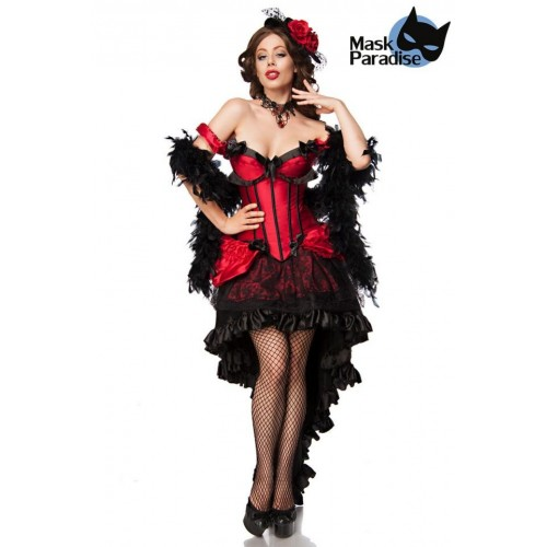 Saloon Girl Burlesque Kostüm schwarz/rot - AT80118 - Bild 1