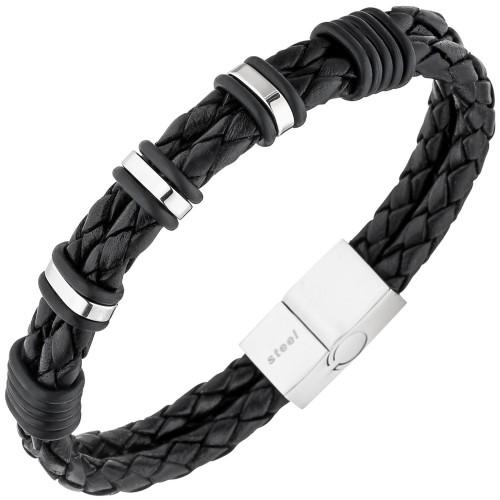 Herren Armband 2-reihig Leder schwarz mit Edelstahl - Bild 1