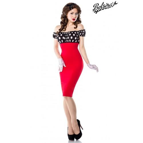 Vintage Pencil-Kleid rot/schwarz/weiß - 50005 - Bild 1