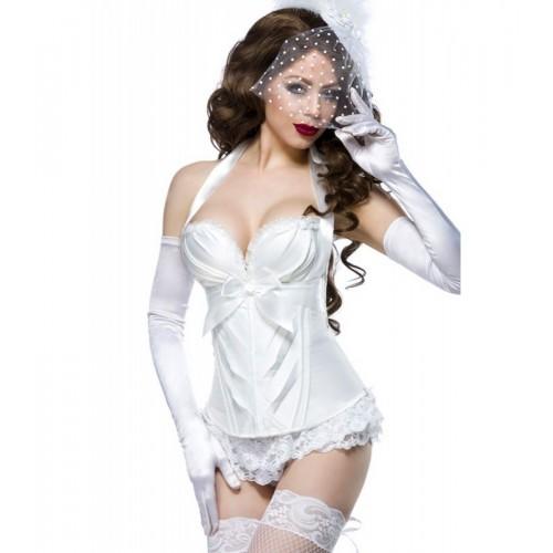 Burlesque-Satin-Corsage weiß - 13990 - Bild 1