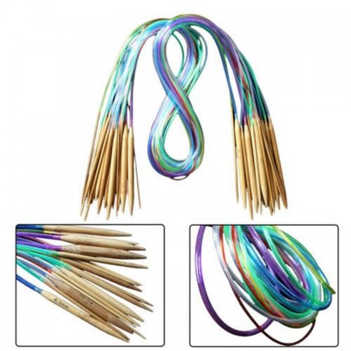 Set Bambus Rundstricknadeln multicolor 18-teilig - Bild 1